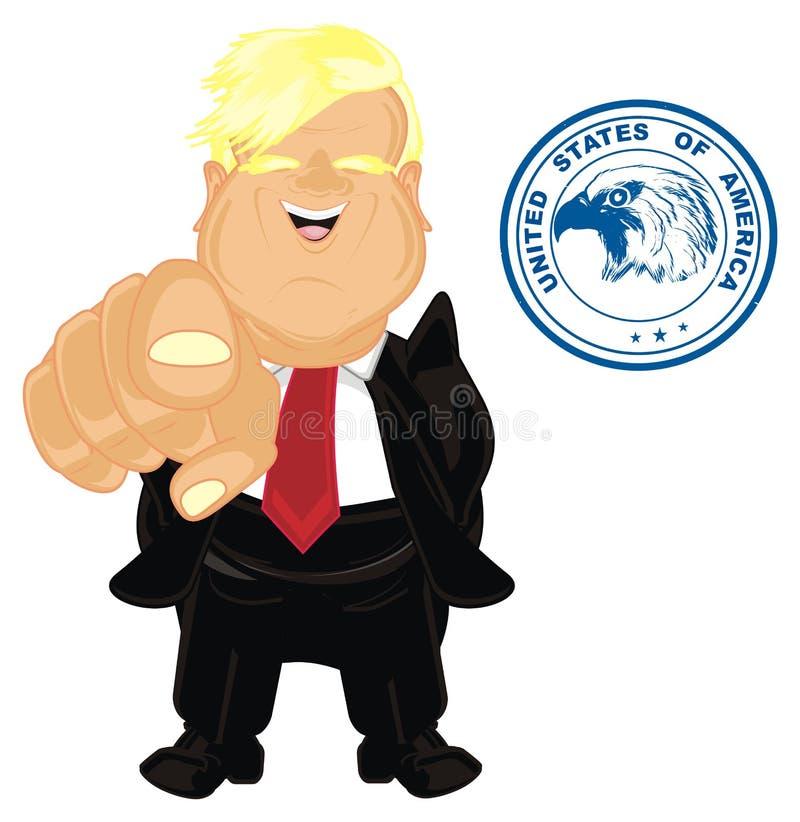 Presidente los E.E.U.U. con gesto y la impresión ilustración del vector