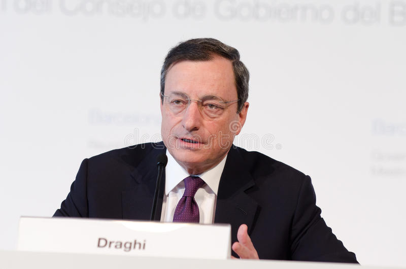 Presidente Mario Draghi do Banco Central Europeu imagem de stock