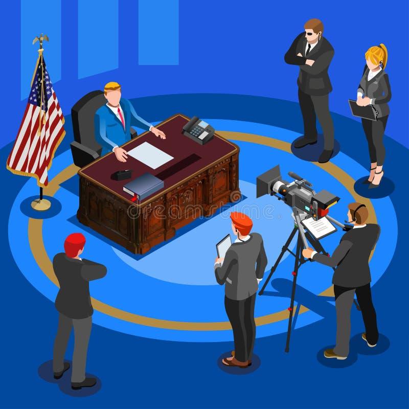 Presidente Mesa Vetor Isométrico Pessoa ilustração do vetor