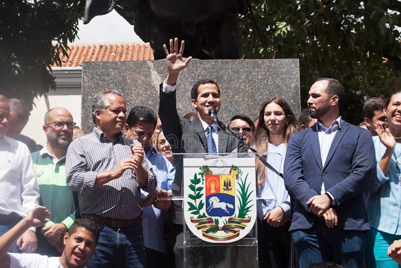 Presidente provvisorio del ³ del Venezuela Juan Guaidà che parla ad una riunione di città a Caracas immagini stock