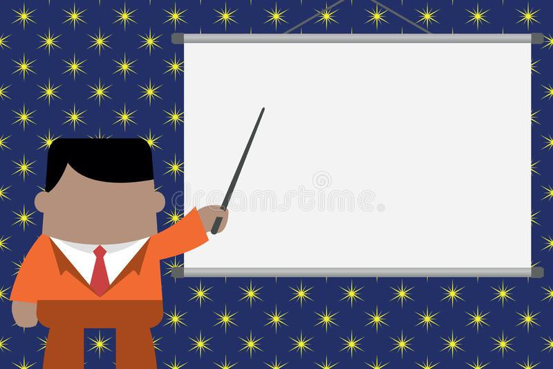 Presidente que da el entrenamiento profesional Situaci?n ejecutiva del hombre en pantalla de proyector delantera Hombre de negoci ilustración del vector