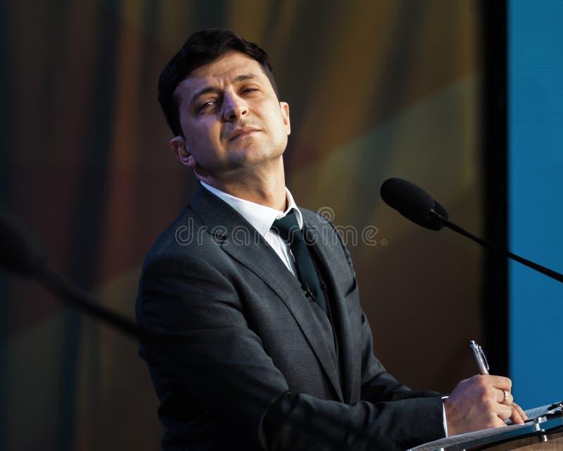 Presidente recentemente eleito de Ucr?nia Vladimir Zelensky imagem de stock