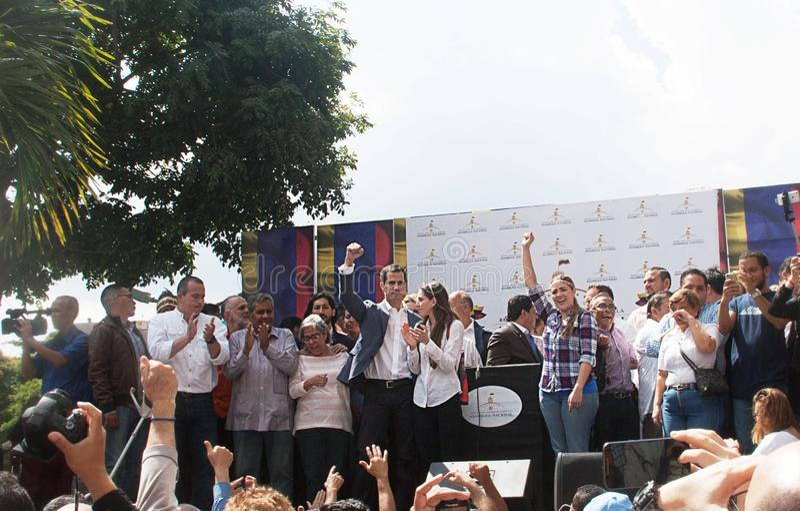 Presidente sostituto del ³ di Juan Guaidà del Venezuela a Caracas immagine stock