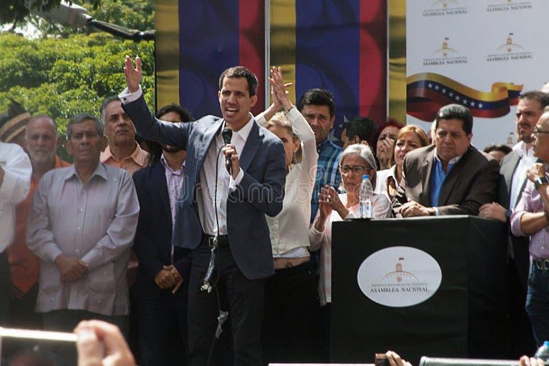 Presidente sostituto del ³ di Juan Guaidà del Venezuela a Caracas immagini stock libere da diritti