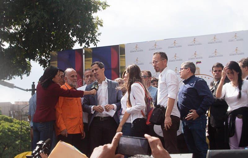 Presidente sostituto del ³ di Juan Guaidà del Venezuela a Caracas fotografie stock