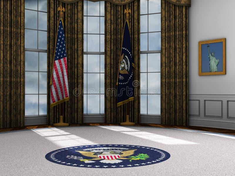 Presidente, ufficio ovale presidenziale, la Casa Bianca  royalty illustrazione gratis