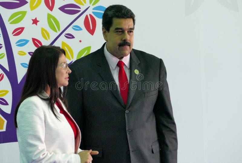 Presidente venezuelano Nicolas Maduro e primeira senhora Cilia Flores imagem de stock