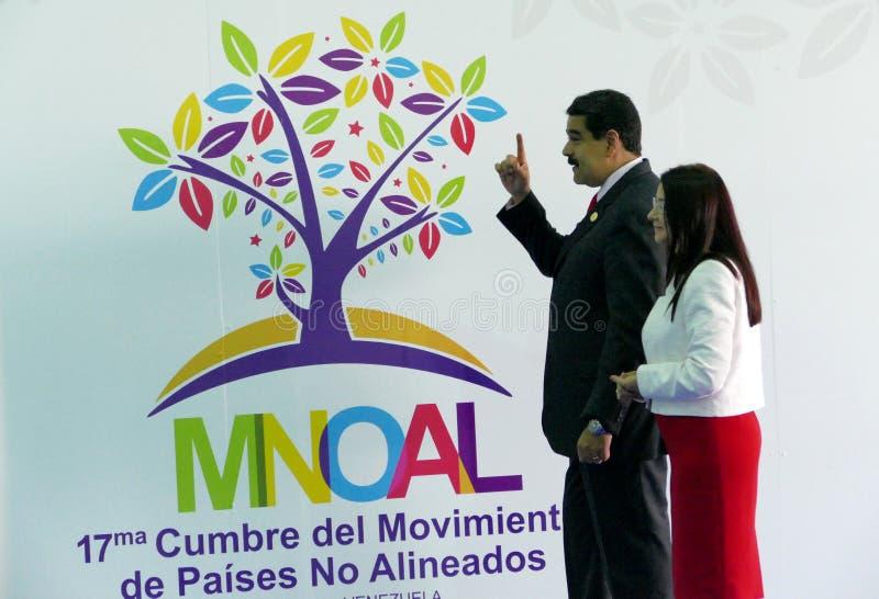 Presidente venezuelano Nicolas Maduro e primeira senhora Cilia Flores fotos de stock