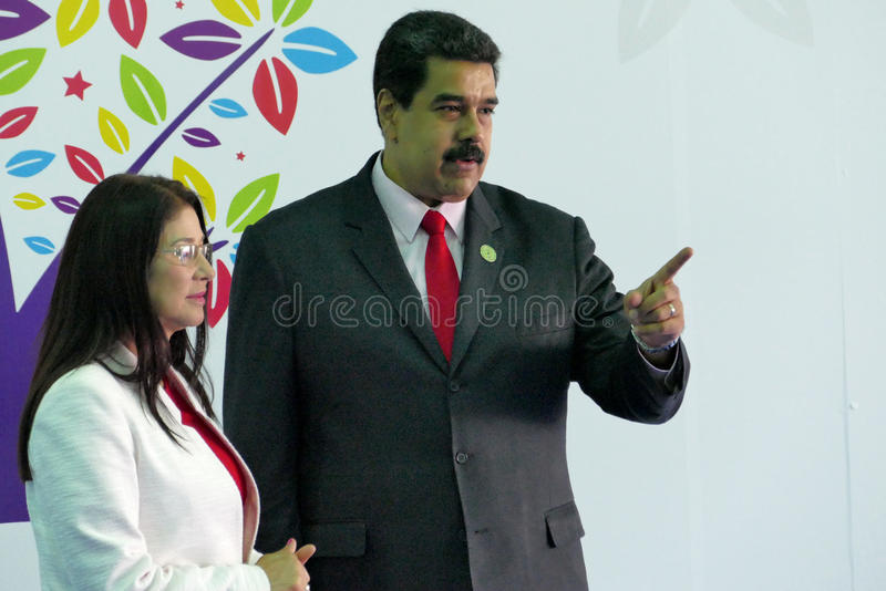 Presidente venezuelano Nicolas Maduro e primeira senhora Cilia Flores fotos de stock royalty free