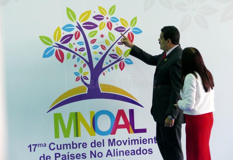 Presidente venezuelano Nicolas Maduro e primeira senhora Cilia Flores fotografia de stock