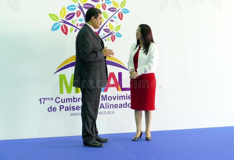 Presidente venezuelano Nicolas Maduro e primeira senhora Cilia Flores foto de stock