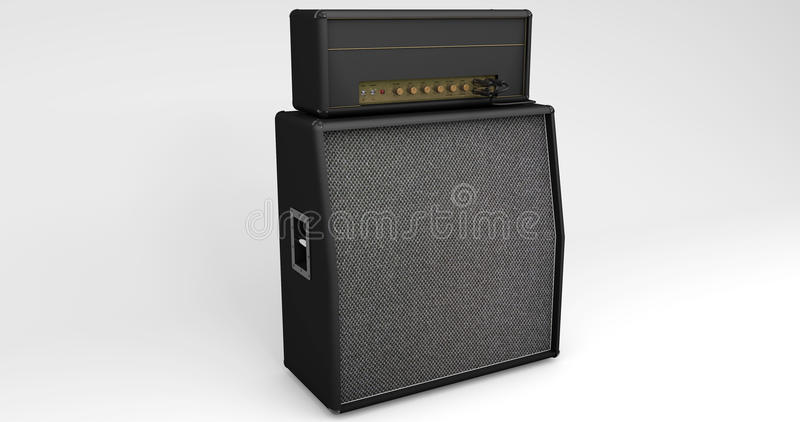 Presidente y amplificador de la guitarra en fondo ligero stock de ilustración