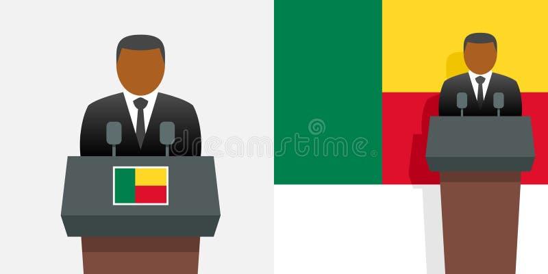 Presidente y bandera de Benin ilustración del vector