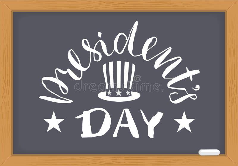 Presidenten Day witte tekst op bord Washingtonsverjaardag stock illustratie