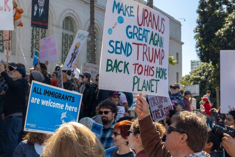 Presidentes Day Protest Los Angeles fotografía de archivo