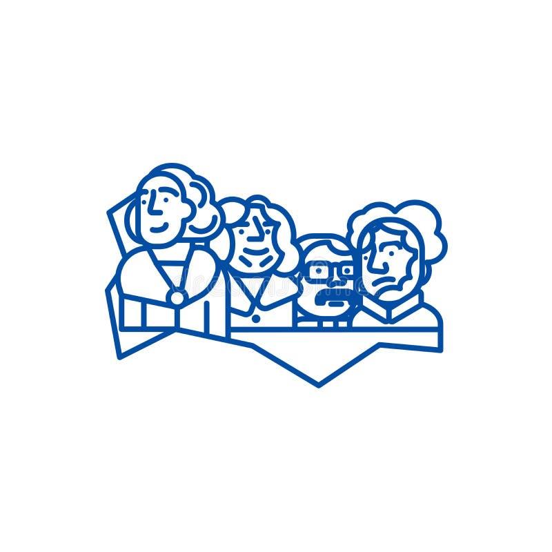 Presidentes de los E.E.U.U., línea concepto del monte Rushmore del icono Presidentes de los E.E.U.U., símbolo plano del vector de stock de ilustración