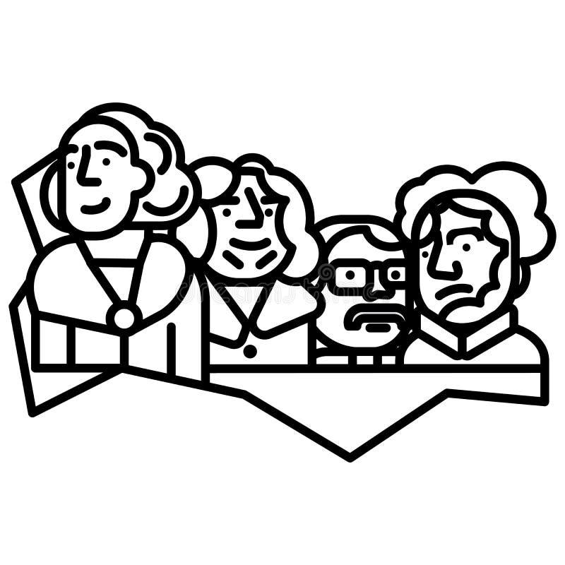 Presidentes de los E.E.U.U., línea icono, muestra, ejemplo del vector del monte Rushmore en el fondo, movimientos editable libre illustration