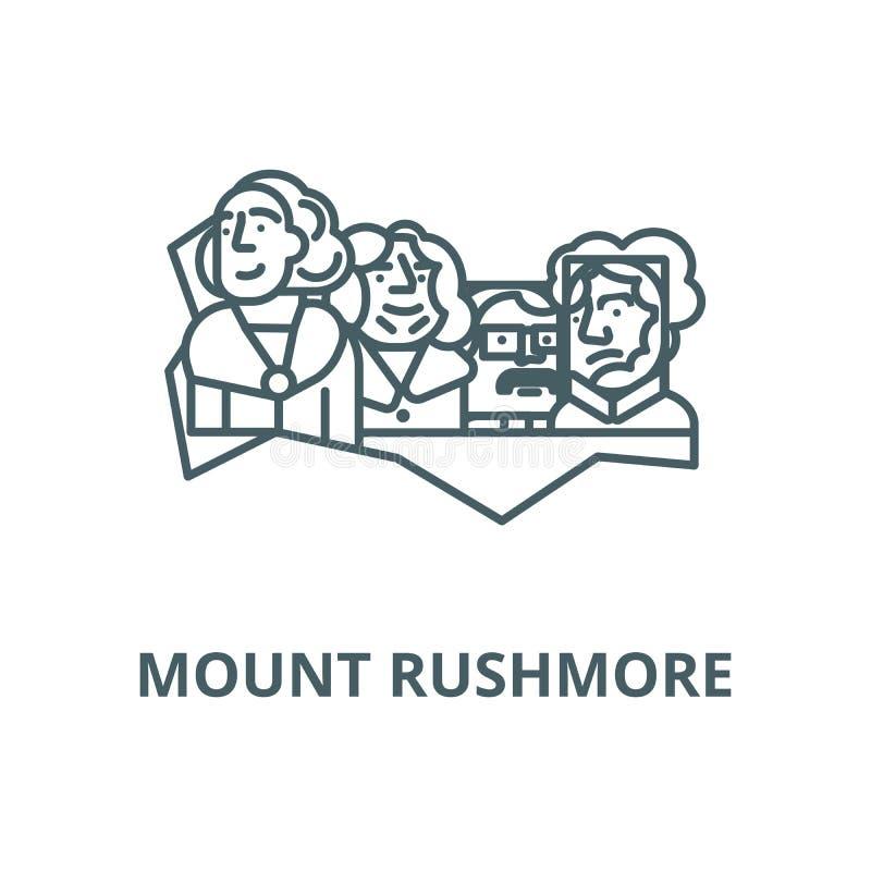 Presidentes dos EUA, linha ícone do vetor do Monte Rushmore, conceito linear, sinal do esboço, símbolo ilustração do vetor