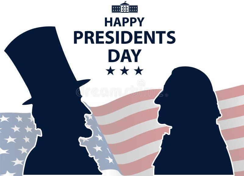 Presidentes felizes Dia no fundo dos EUA Silhuetas de George Washington e de Abraham Lincoln com a bandeira como o fundo ilustração stock