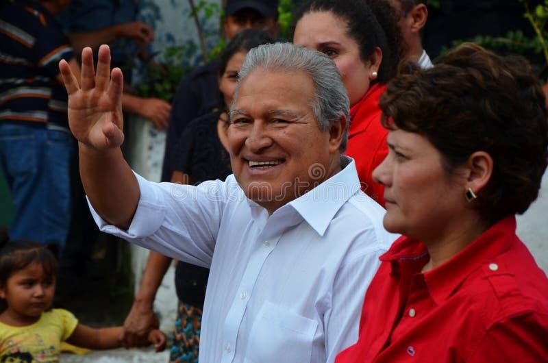 Presidentiële kandidaat M. Salvador Sánchez Cerén, El Salvador royalty-vrije stock fotografie