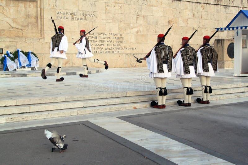 Presidentiële Wacht Changing buiten Parlementsgebouw in Athene, Griekenland royalty-vrije stock fotografie