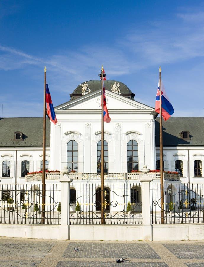 Presidentiële woonplaats in Grassalkovich-Paleis op Hodzovo-Vierkant stock fotografie