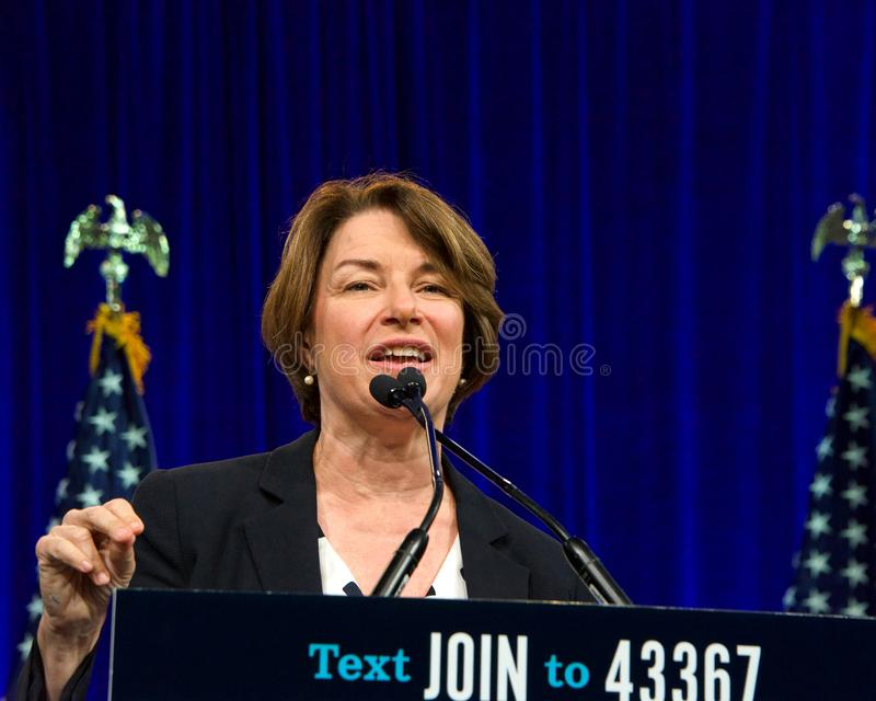 Presidential Candidate Amy Klobuchar at the DNC Summer meeting royalty free stock photography