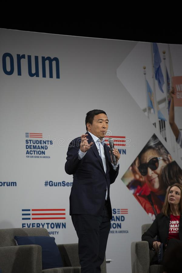 AUGUST 10, 2019-DES MOINES, IA/USA: Andrew Yang speaks royalty free stock photo