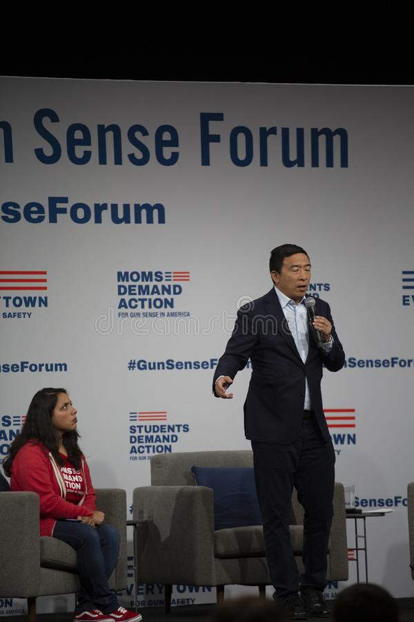 AUGUST 10, 2019-DES MOINES, IA/USA: Andrew Yang speaks royalty free stock image