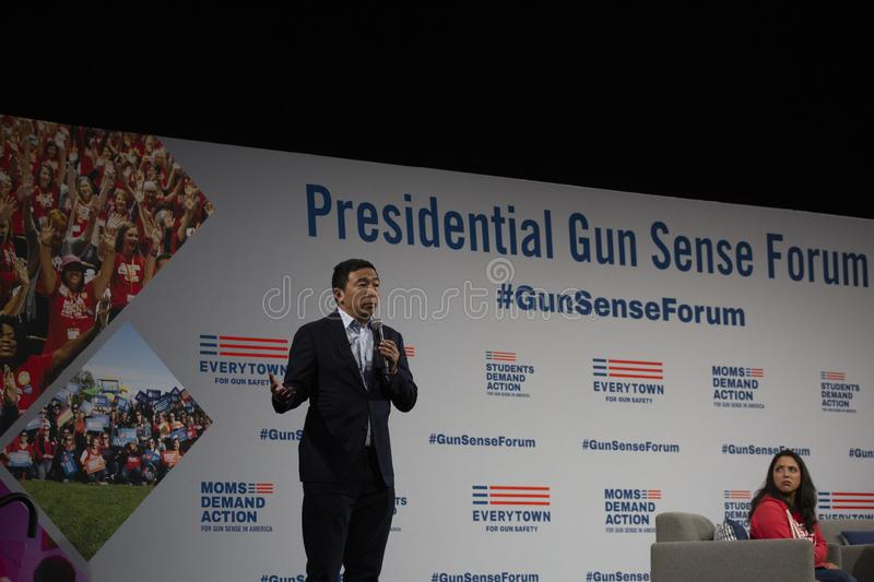 AUGUST 10, 2019-DES MOINES, IA/USA: Andrew Yang speaks royalty free stock photos