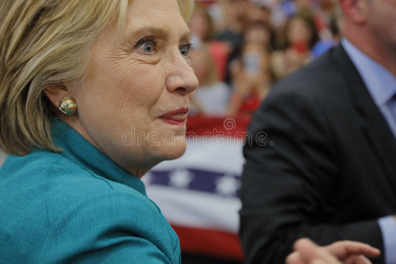 Presidential Candidate Hillary Clinton Campaigns in Oxnard, CA a. OXNARD, CA - JUNE 04, 2016: former Secretary of State Hillary Clinton and Democratic stock images
