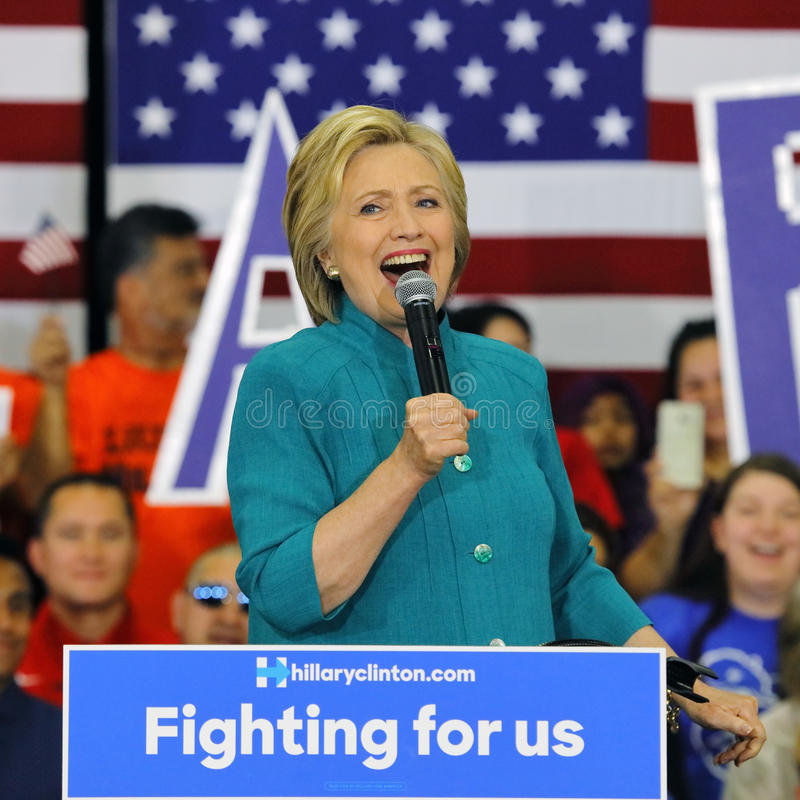 Presidential Candidate Hillary Clinton Campaigns in Oxnard, CA a. OXNARD, CA - JUNE 04, 2016: former Secretary of State Hillary Clinton and Democratic royalty free stock photography