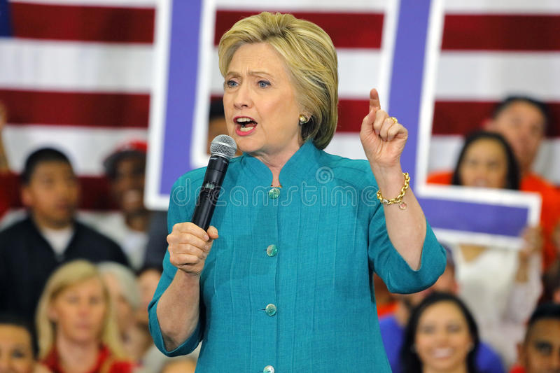 Presidential Candidate Hillary Clinton Campaigns in Oxnard, CA a. OXNARD, CA - JUNE 04, 2016: former Secretary of State Hillary Clinton and Democratic royalty free stock photo