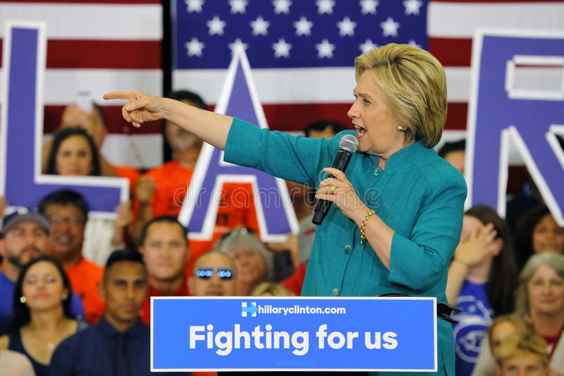 Presidential Candidate Hillary Clinton Campaigns in Oxnard, CA a. OXNARD, CA - JUNE 04, 2016: former Secretary of State Hillary Clinton and Democratic royalty free stock image