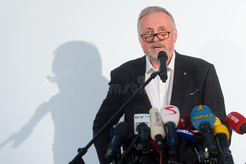 Mirek Topolanek. The presidential candidate Mirek Topolanek speaks to journalists during the press conference about his presidential candidacy in Prague, Czech stock photo