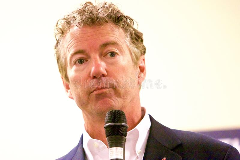 Presidential Candidate Senator Rand Paul. Presidential Candidate, Senator Rand Paul, addresses the public at a campaign stop in Sioux Center, IA on July 1, 2015 royalty free stock image