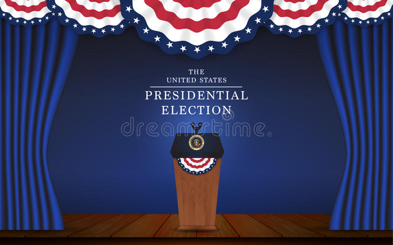 Presidential election banner background. President podium with microphone on stage design for US Presidential election of 2016. Vector illustration royalty free illustration