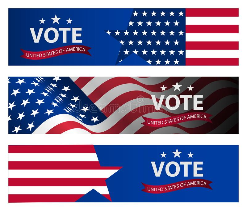 Presidential election banner background. US Presidential election 2020. US midterm elections 2018: the race for Congress. Democracy campaign. Vote Republican stock illustration