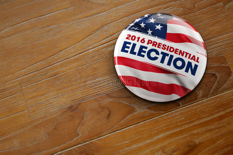 2016 Presidential Election Button. 3D illustration of a political button for the US presidential election in 2016 on wooden surface vector illustration