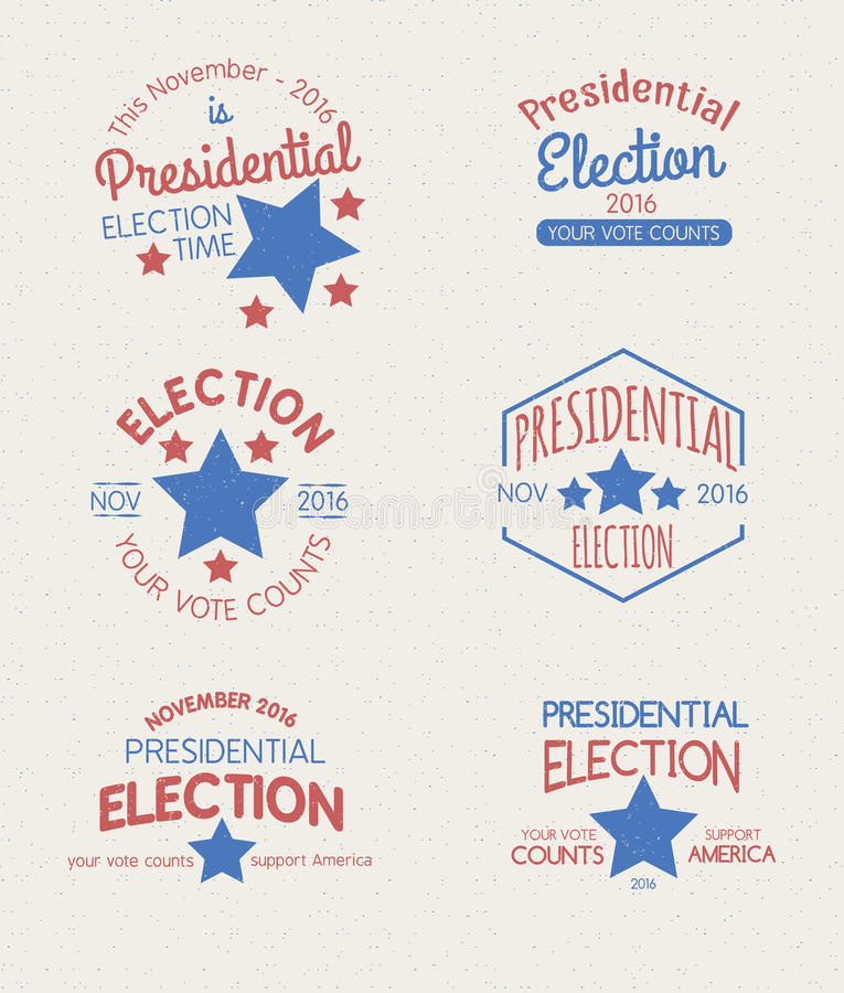 Presidential Election Graphic Badges. Set of badges for the 2016 Presidential Election vector illustration