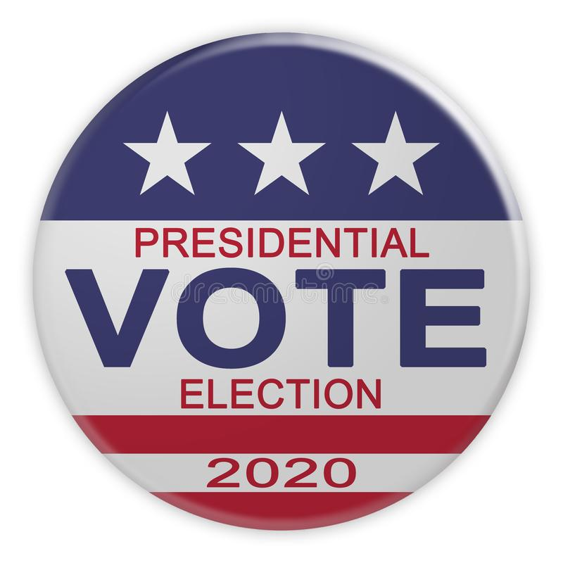 2020 Presidential Election Vote Button With US Flag, 3d illustration On White. USA Politics News Badge: 2020 Presidential Election Vote Button With US Flag, 3d vector illustration