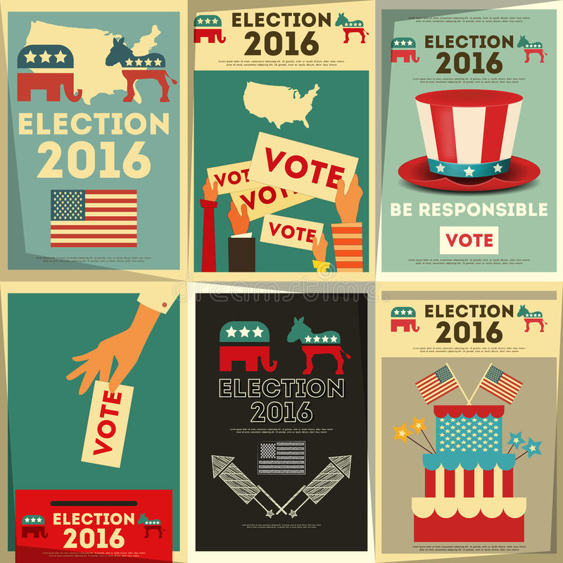 Presidential Election Voting. Poster Set. Vector Illustration stock illustration