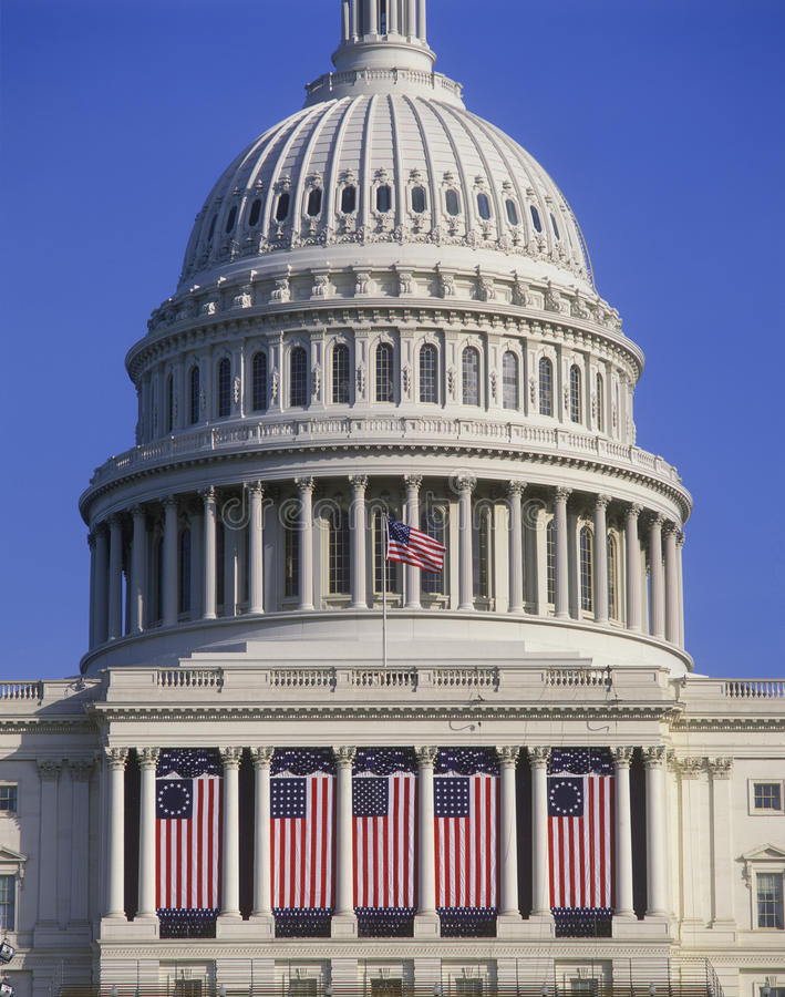 Presidential Inauguration Flags, Celebrating inaugural of President Bill Clinton, January 20, 1993. U.S. Capitol and American flags on Presidential Inaugural stock photography