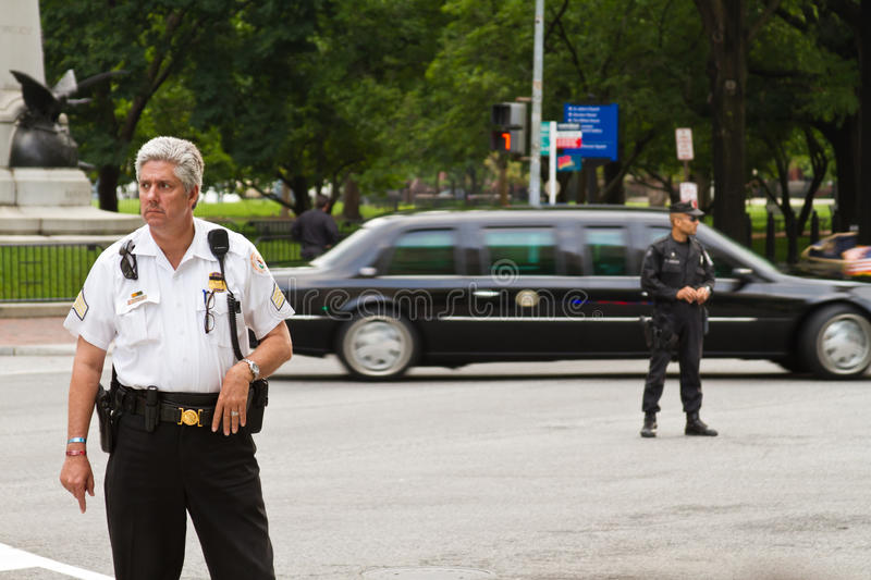 Presidential limo and police royalty free stock photo