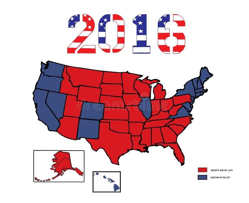 Presidential Maps 2016 Colored. 50 United States colored in Republican Red, Democrat Blue for the general Presidential election of 2016 stock illustration
