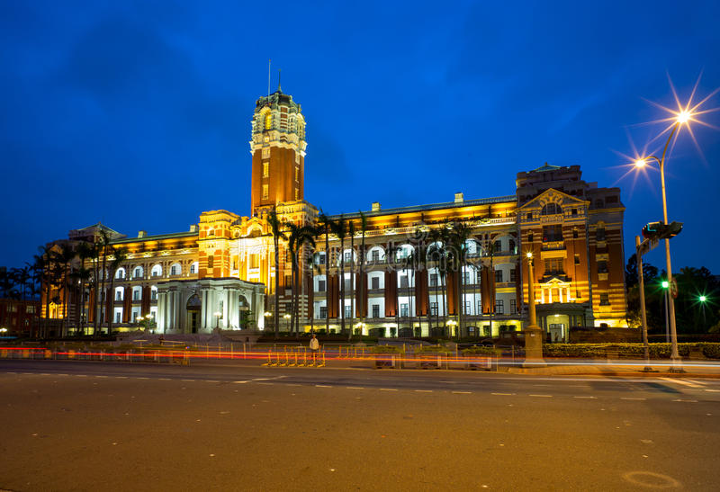 The Presidential Office Building in Taipei, Taiwan. Night view of The Presidential Office Building in Taipei royalty free stock images