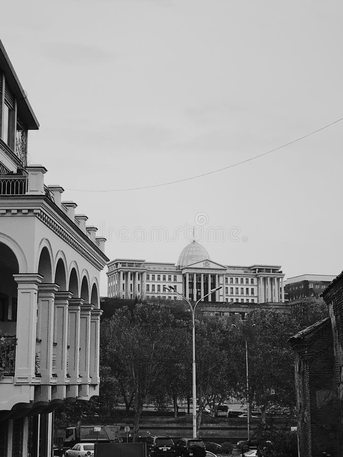 Presidential Palace of Georgia in Tbilisi. Panorama view on presidential palace and centre of Tbilisi city stock photos