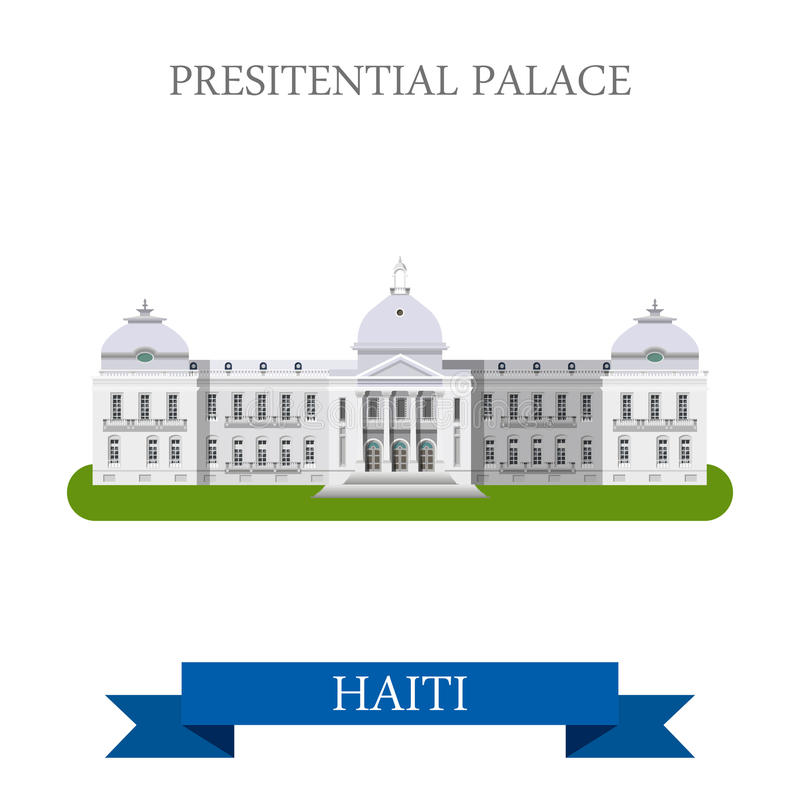 Presidential Palace in Haiti flat vector illustrat. Presidential Palace in Port-au-Prince Haiti. Flat cartoon style historic sight showplace attraction web site vector illustration