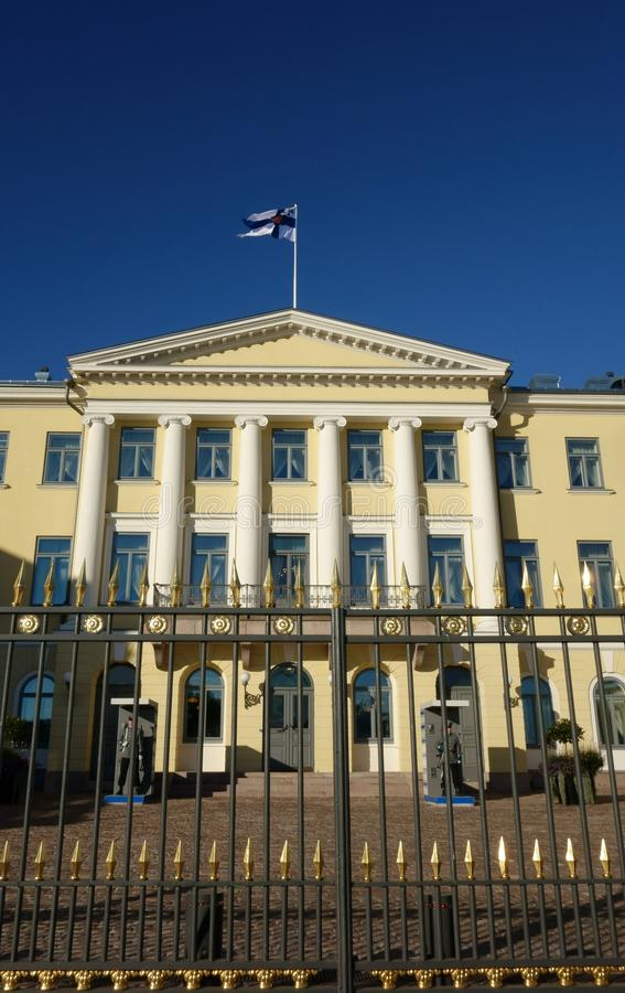 The Presidential Palace and its guards in Helsinki, Finland stock photography