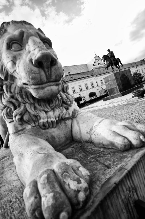 Presidential Palace in Warsaw. Black and white view of Presidential Palace in Warsaw with lion statue in foreground, Poland stock photos